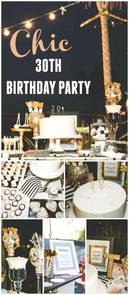 Stripes & Glitter   Birthday  Chic Black, White, Gold 30th