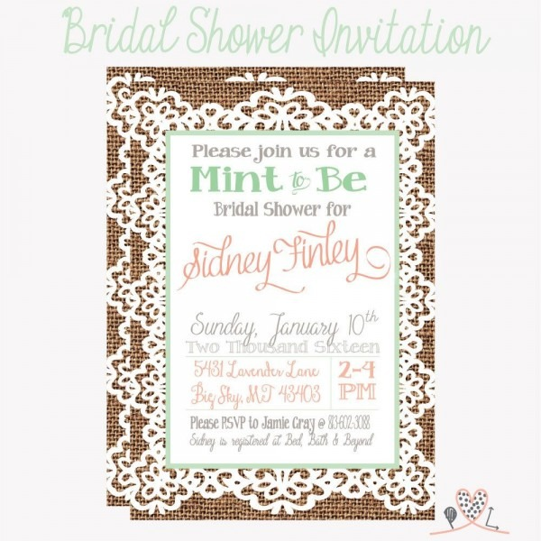 Mint To Be Bridal Shower Invitation; Burlap And Lace; Coral, Mint