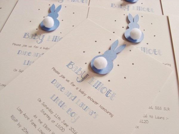 Set Of 10 Handmade Personalised Bunny Rabbit Baby Shower Birthday