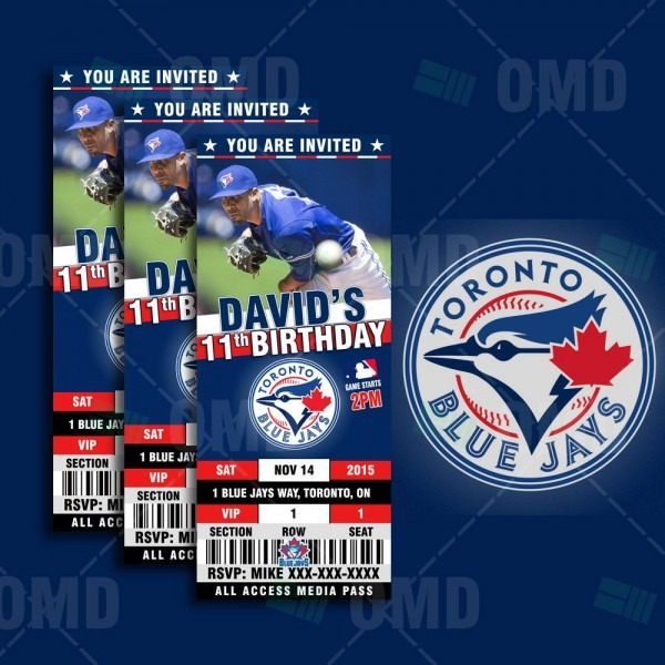 Toronto Blue Jays Ticket Style Sports Party Invitations