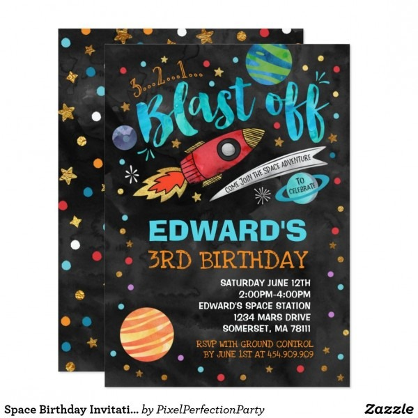 Space Birthday Invitation Outer Space Party In 2018