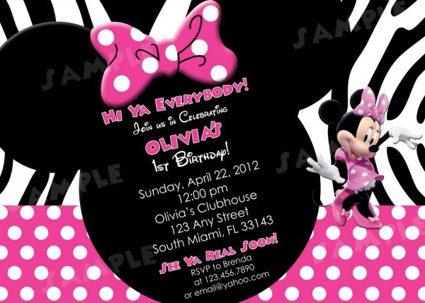 Free Printable Minnie Mouse 1st Birthday Invitations