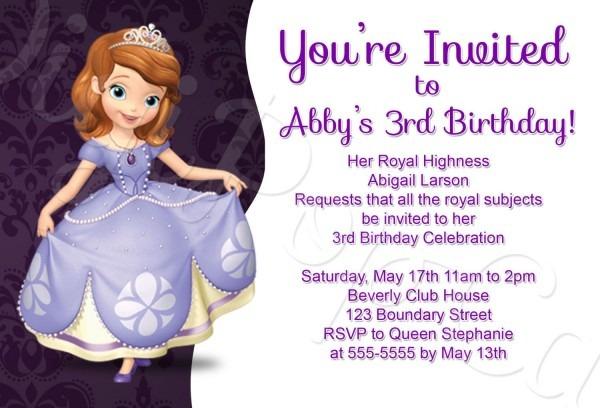 Princess Sofia Birthday Invitation Template