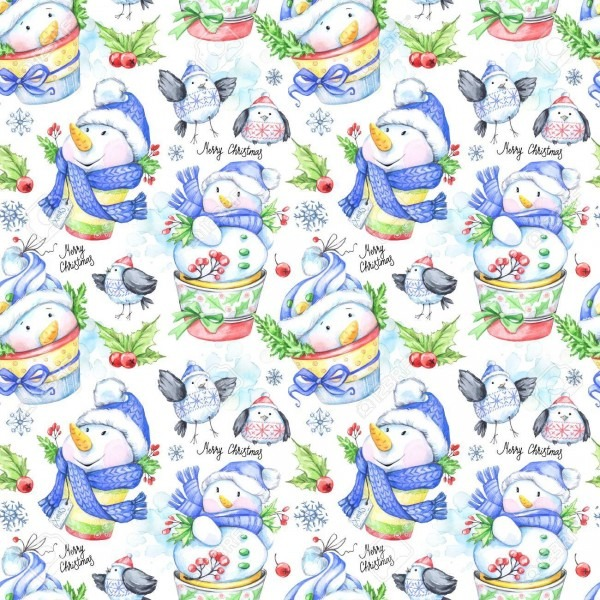 Watercolor Seamless Pattern With Funny Snowmens And Little Birds