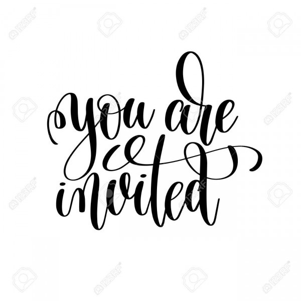 You Are Invited Black And White Handwritten Lettering Royalty Free