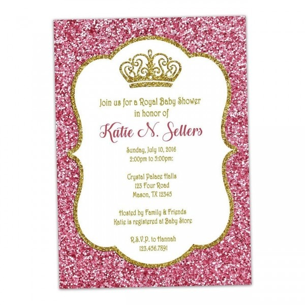 Amazon Com  Pink Gold Glitter Baby Shower Invitations Princess