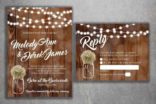Amazon Com  Country Wedding Invitations Set Printed, Rustic