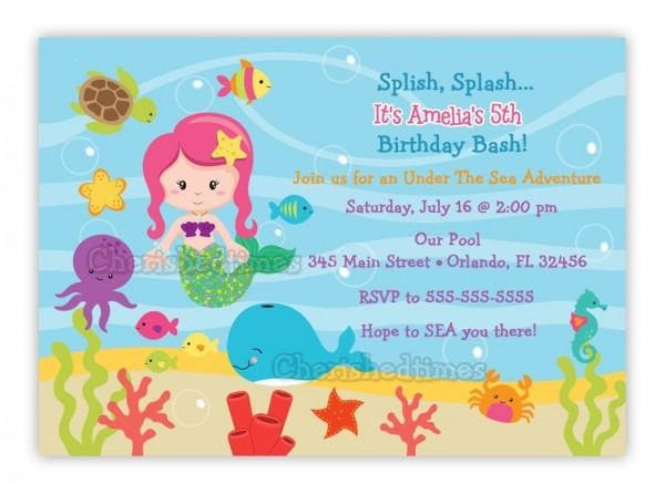 Under The Sea Birthday Invitations Wording