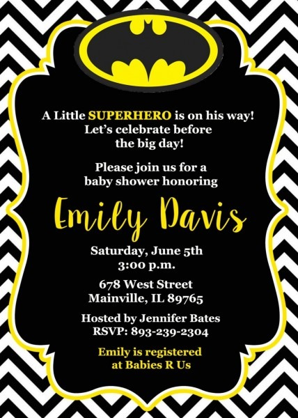 Batman Baby Shower Invitations To Give Additional Ideas In