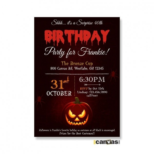 Halloween Birthday Invitation  Halloween Pumpkin Invitations
