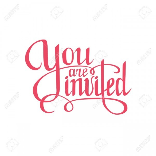 You Are Invited Sign Hand Drawn Lettering  Greeting Card With