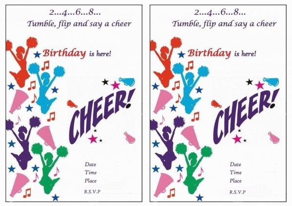 Cheerleading Free Printable Birthday Party Invitations