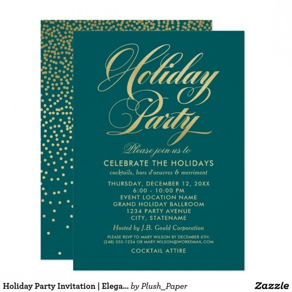 Deep Teal And Gold Holiday Party