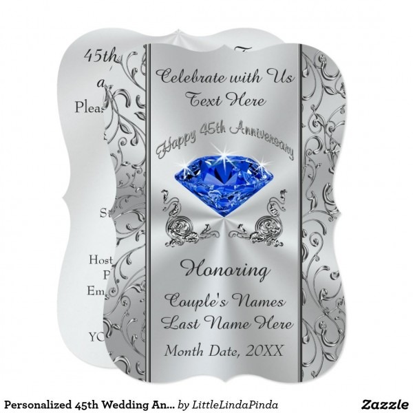 Personalized 45th Wedding Anniversary Invitations In 2019