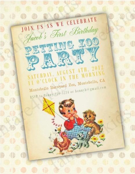 Vintage Petting Zoo Diy Printable Little Boy Birthday Invitation