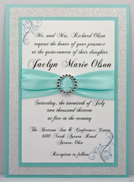 Custom Aqua Invitation Sample For Marlene