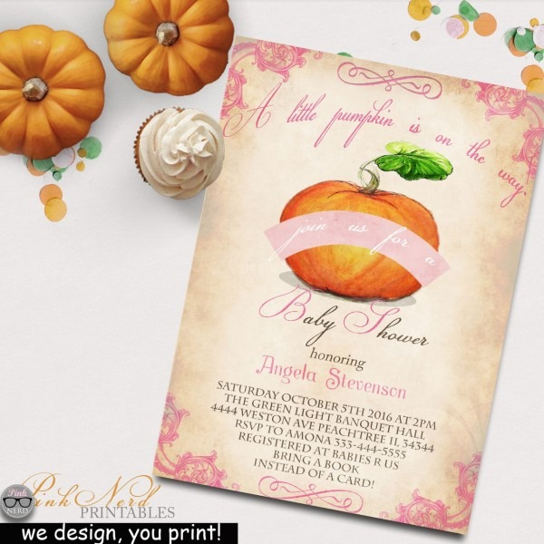 Cute Pumpkin Fall Baby Shower Invitation Elegance