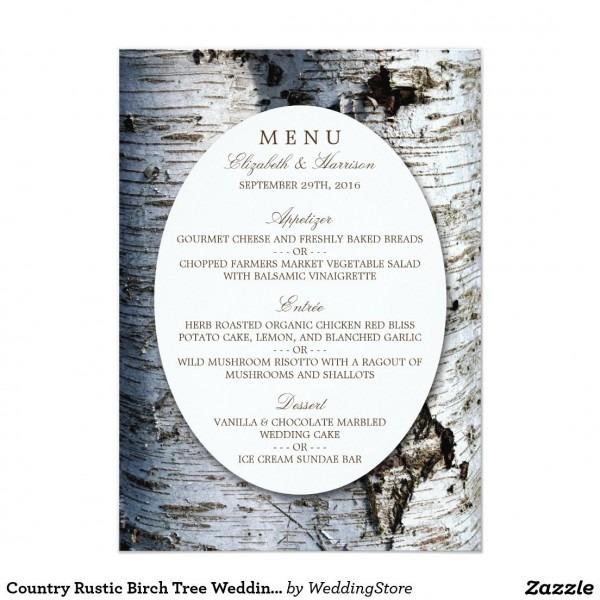 Country Rustic Birch Tree Wedding Menu Card