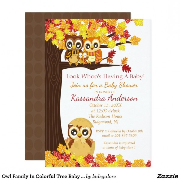 Owl Family In Colorful Tree Baby Shower Invitation Look Whoo's