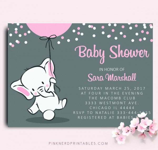 Elephant Baby Shower Invitation Elephant Holding Balloon Baby