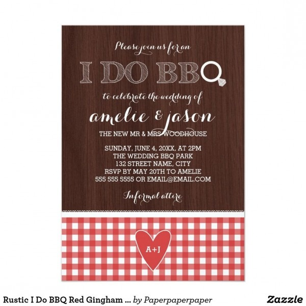 Rustic I Do Bbq Red Gingham Post Wedding Party Invitation
