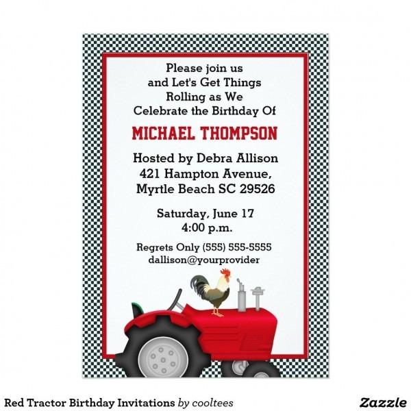 Red Tractor Birthday Invitations