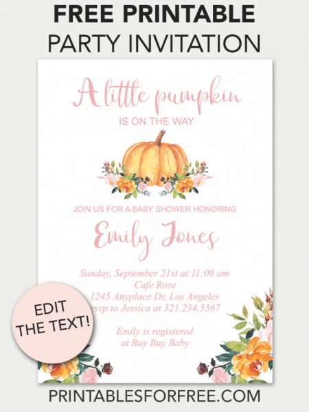 Pumpkin Floral Printable Baby Shower Invitation