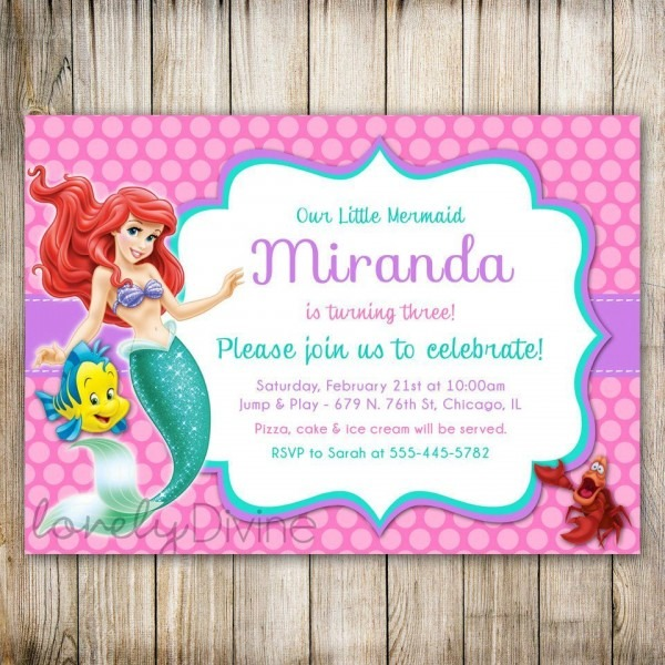 Little Mermaid Birthday Invitations Wording