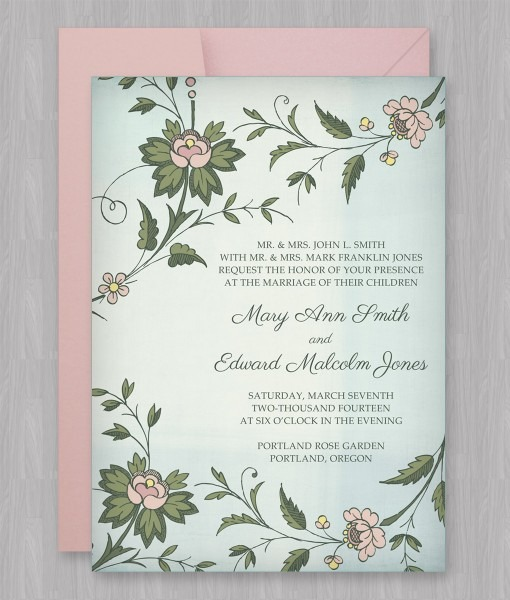 Watercolor Flowers Invitation Template – Download & Print