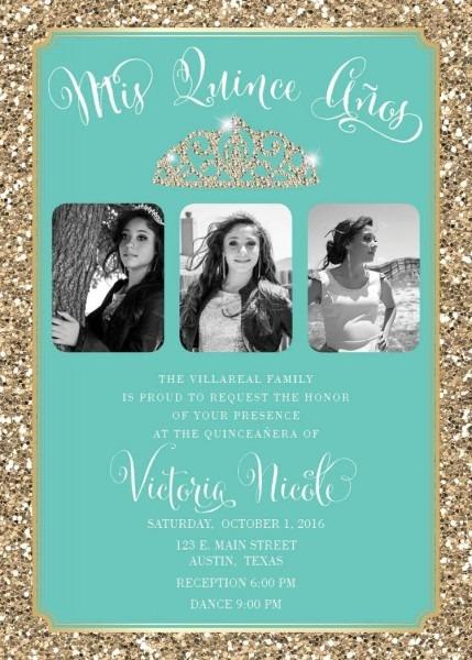 Glitter Bling Tiara Quince Invitation