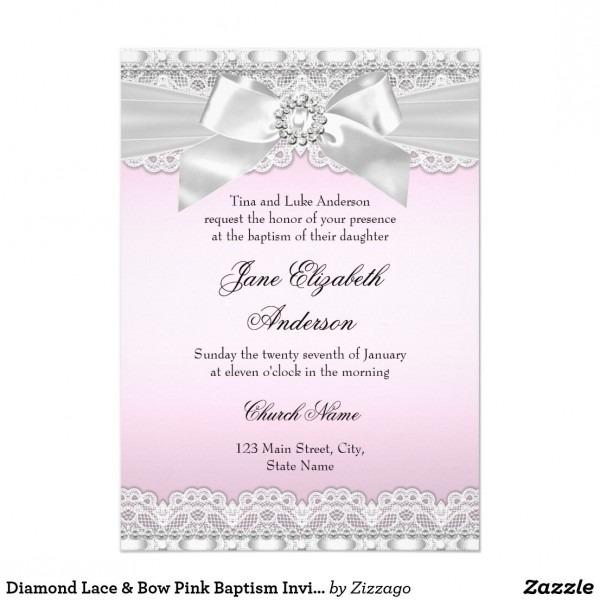 Diamond Lace Bow Pink Baptism Invite