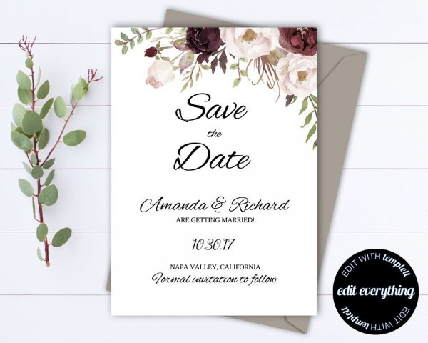 Floral Save The Date Wedding Template