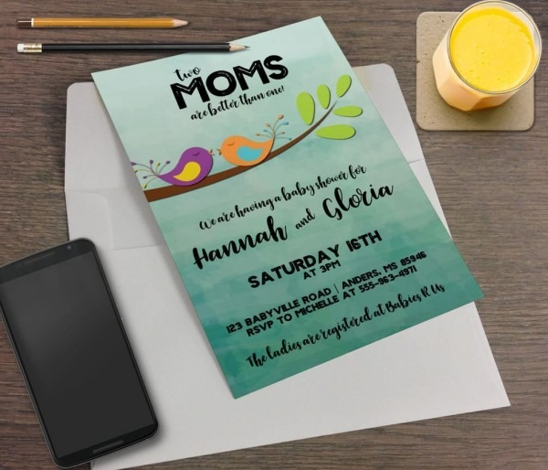 Two Moms Better Than One Printable Baby Shower Invitation
