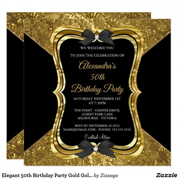 Elegant 50th Birthday Party Gold Golden Black Invitation