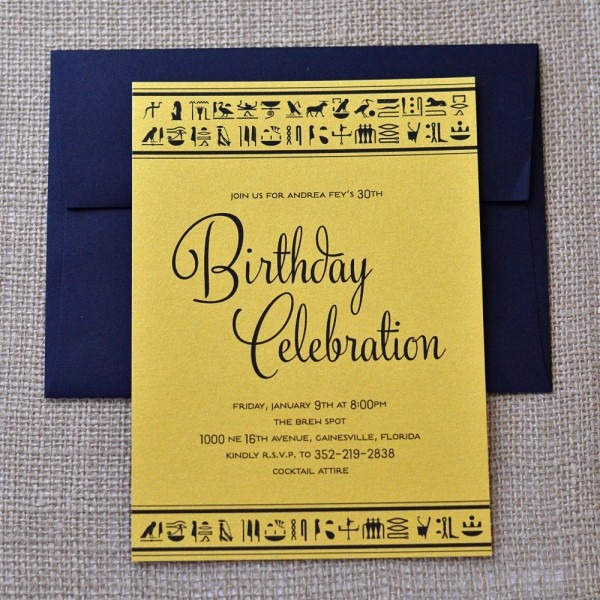 Egyptian Themed Birthday Invitations