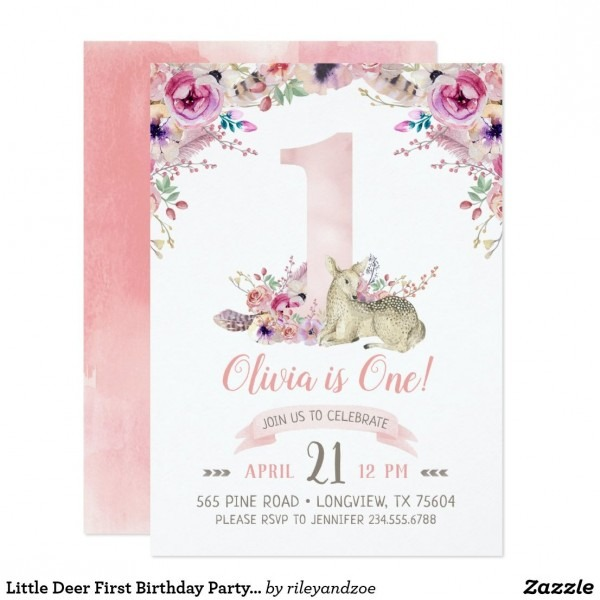 Little Deer First Birthday Party Invitation Affordable Custom