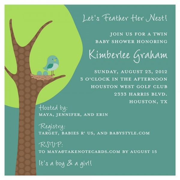 Feather Her Nest Twin Baby Shower Invitation