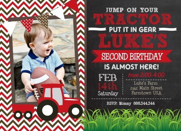 Red Tractor Chevron Chalk Birthday Printable Invitation, Red