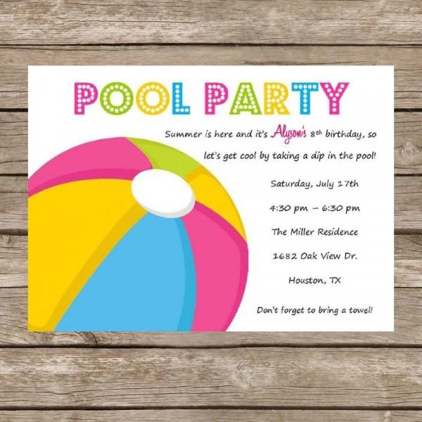 Printable Birthday Pool Party Invitation