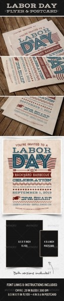 Labor Day Flyer Postcard  Graphicriver Showcase This Typographic