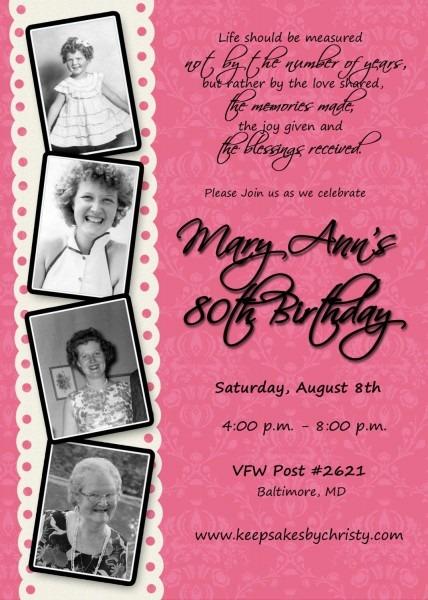 Custom Birthday Invitation 30th, 40th, 50th, 60th, 70th, 75th