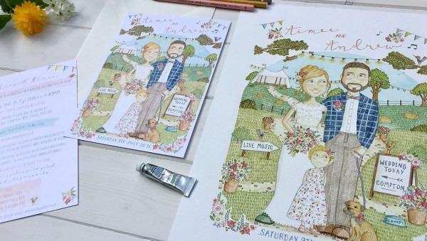 Bespoke Personalised Illustrated Wedding Invitations & Stationery