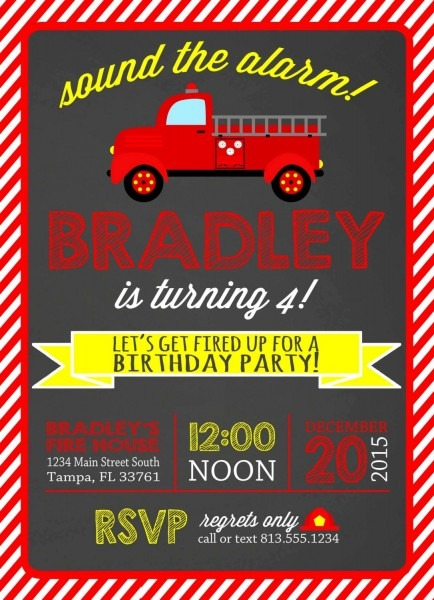 Astounding Fire Truck Birthday Trend Fire Truck Party Invitations