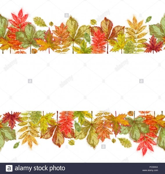 Autumn Leaves Seamless And Continuous Border  Watercolor Autumnal