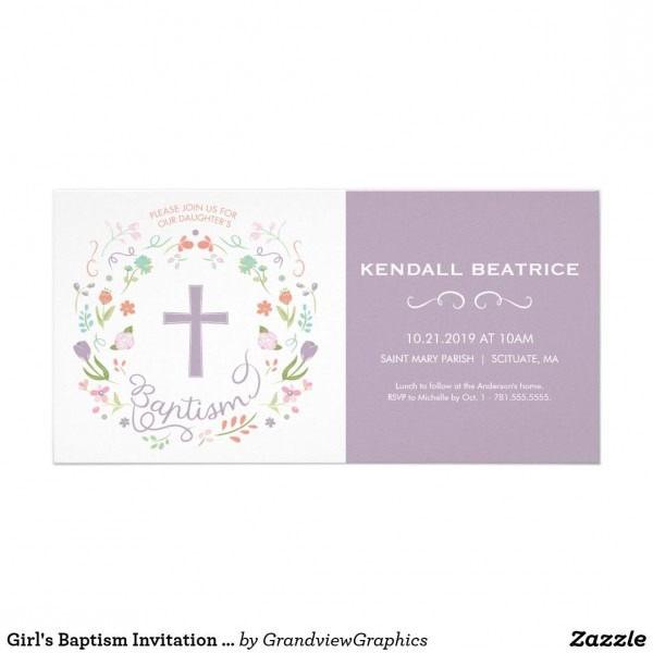 Girl's Baptism Invitation Card