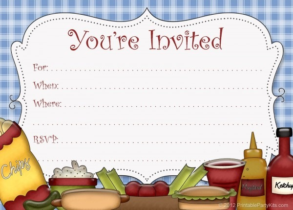 Free Printable Bbq   Cookout   Picnic Invitations