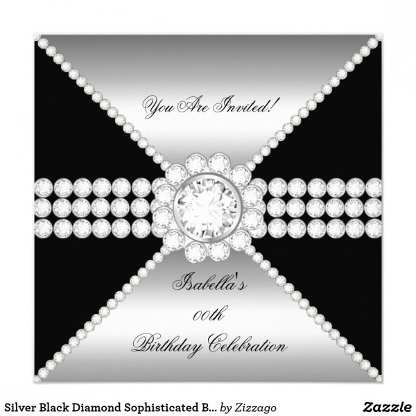 Silver Black Diamond Sophisticated Birthday Party Invitation In