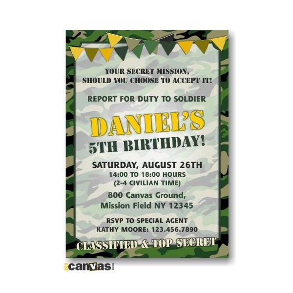 Camouflage Birthday Invitation  Military Army Boys Army Camo Kids