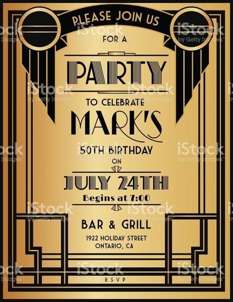 Art Deco Birthday Party Invitation Template  The Invitation Has A