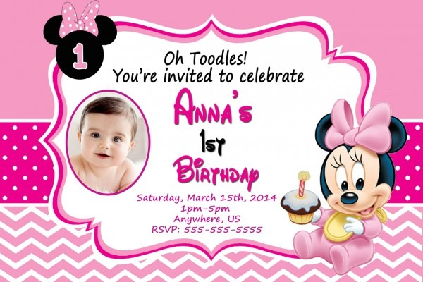 Baby Minnie Mouse St Birthday Personalized Invitations Free